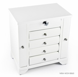 Contemporary 30 Note Matte White Spacious Musical Jewelry Box with Silver Hardware