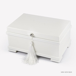 Contemporary 36 Note Matte White Musical Jewelry Box with Lift Up Tray