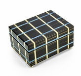 Contemporary Blue and Beige Line Inlay 22 Note Musical Jewelry Box