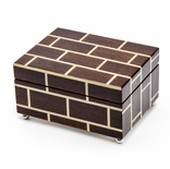 Contemporary Modern Masonry Style Inlay 22 Note Musical Jewelry Box
