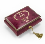 Artistic 22 Note Ornament Style Heart Outline Wood Inlay Musical Jewelry Box
