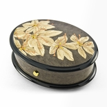 "Elegant 36 Note Red Gold Theme Inlay Reuge Music Box ""Safran"""