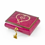 Artistic 36 Note Ornament Style Heart Outline Wood Inlay Musical Jewelry Box