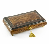 Elegant Classic Style Wood Tone Musical Jewelry Box with Lock and Key