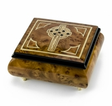 Elegant Handcrafted Italian Celtic Cross Inlaid Music  Box
