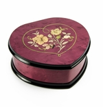 Elegant Cherry Red Heart Shaped Music Jewelry Box with Floral in Heart Frame Inlay Design