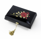 Enchanting Black Lacquer Single Red Rose with Gold Hardware Music Jewelry Box