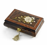 Exquisite 36 Note Single Stem White Rose Musical Jewelry Box