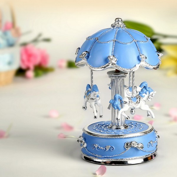 Animated Musical Carousel Exquisite Blue and Silver World's Fair Style Animated Musical Carousel