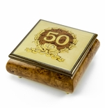 Extraordinary 22 Note 50th Anniversary / Birthday with Gold Wreath Music Box