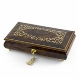 Extraordinary Handcrafted 30 Note Arabesque Inlay Musical Jewelry Box with Lock and Key