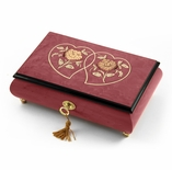 Extraordinary Red Wine Double Heart and Floral Inlay 18 Note Musical Jewelry Box HUGE SALE