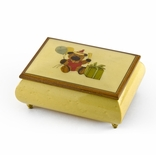 Festive 22 Note Handcrafted Beige Happy Birthday Bear Music Box