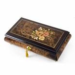 Gentle 22 Note Roses with Rosewood Frame Musical Jewelry Box