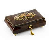 Gorgeous 22 Note Dark Natural Wood Tone Floral Inlay Musical Jewelry Box with Lock and Key