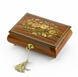 Gorgeous 22 Note Santos Mahogany Floral Inlay Musical Jewelry Box with Lock and Key