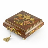 Gorgeous 22 Note Spring Roses Inlay Musical Jewelry Box with Lock and Key