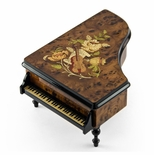 Gorgeous 30 Note Burl-Elm Music and Floral Theme Grand Piano Music Box