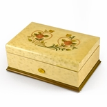 Gorgeous 72 Note Swiss Egg Shell Double Heart and Roses Inlay Grand Music Box