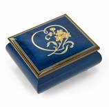Gorgeous Dark Blue Stain Heart and Floral Wood Inlay Music Box