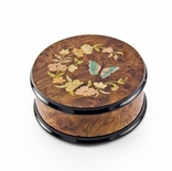22 NOTE Gorgeous Handcrafted Round Butterfly and Floral Music Jewelry Box
