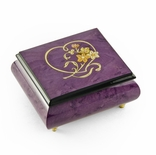 Gorgeous Purple Heart and Floral Wood Inlay Music Box, Most Popular, Best Seller