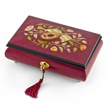 Gorgeous Red Wine Instrument and Floral Wood Inlay 22 Note Musical Jewelry Box HUGE SALE