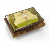 Gorgeous Wood Inlay 22 Note Ballerina Musical Jewelry Box
