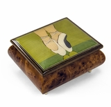 Graceful Ballerina's Pointe Shoes Wood Inlay Music Jewelry Box