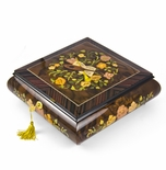 Grand 22 Note Italian Music Instrument Theme Inlay Musical Jewelry Box with Pull Out Tray