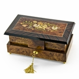 Grand 36 Note Double Level Musical Jewelry Box with Exquisite Floral Inlay