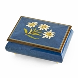 Hand-made 22 Note Royal Blue Edelweiss Inlay Musical Jewelry Box