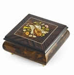 Hand-made 30 Note Italian Jewelry Box with Mandolin Wood Inlay