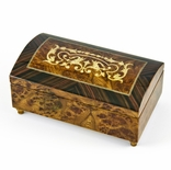 Handcrafted 18 Note Arabesque Inlay with Rosewood Border Music Jewelry Chest
