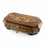 Handcrafted 18 Note Wood Tone Grand Double Level Music Theme Musical Jewelry Box
