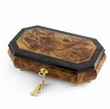 Handcrafted 22 Note Classic Style Cut Corners Music Jewelry Box with Lock and Key