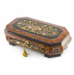 Handcrafted 22 Note Grand Double Level Music Theme Inlay Musical Jewelry Box