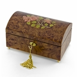 Handcrafted 22 Note Wood Tone Floral Inlay Treasure Chest Musical Jewelry Box