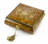 Handcrafted 30 Note Floral Inlay Music Box with Lock and Key
