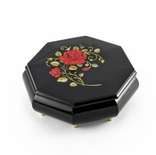 Handcrafted 36 Note Octagonal Midnight Black with Red Rose Inlay Jewelry Box