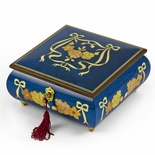 Handcrafted Radiant Blue 36 Note Roses and Ribbons Musical Jewelry Box with Lock and Key
