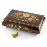 Handcrafted Walnut 30 Note Roses Inlay Musical Jewelry Box with Lock and Key