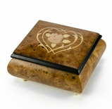 Harmonious Musical Jewelry Box with Flower & Double Heart Outline Wood Inlay