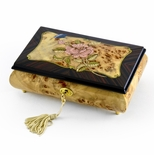 Harmonious Single Pink Rose and Butterfly with Rosewood Frame Music Box