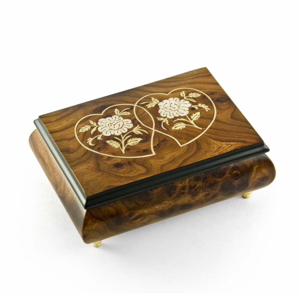 Harmonious Wood Tone Double Heart White Roses Musical Jewelry Box