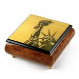 Iconic Handcrafted Statue of Liberty Wood Inlay Musical Jewelry Box
