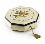 Immaculate 30 Note Ivory Stain Octagonal Music Jewelry Box  with Rose and Butterfly Inlay