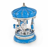 Incredible Blue with Silver accents Persian Canopy Top Animated Musical Carousel