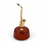 Incredibly Detailed 18 Note Miniature Saxophone with Rotating Musical Base