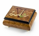 Irish Music Box w. Celtic Harp, Green Clovers & Ribbon